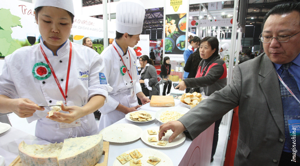 Chinese consumer eating cheese