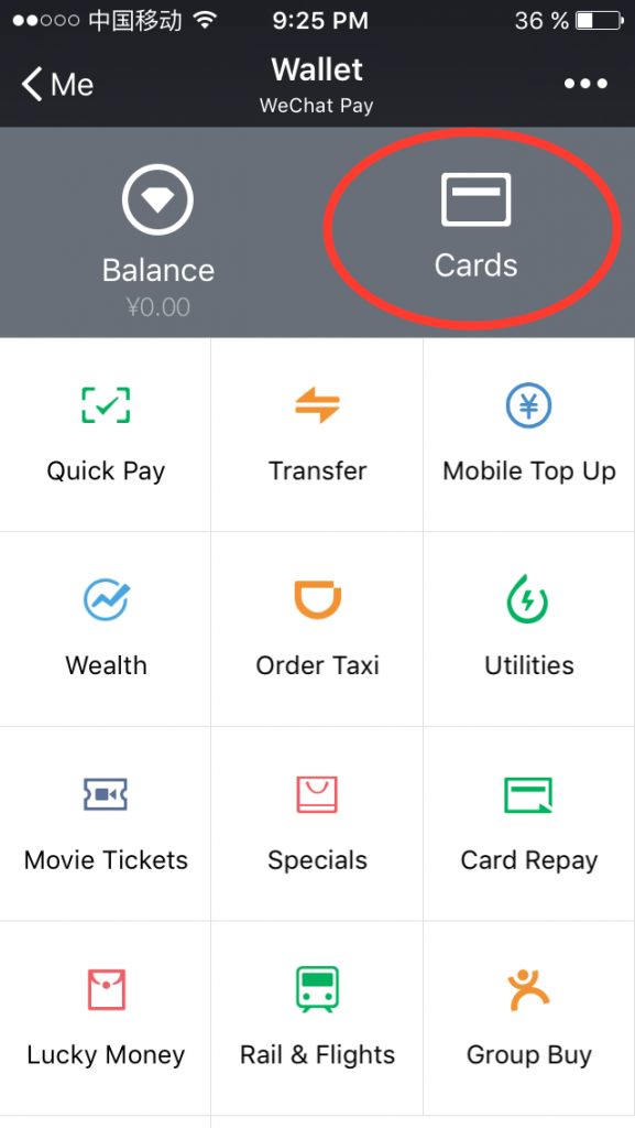 "Select the function ""ADD a CARD"""
