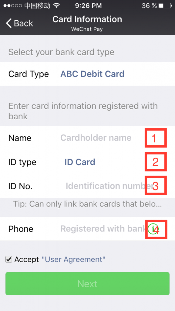 Add your bank card details